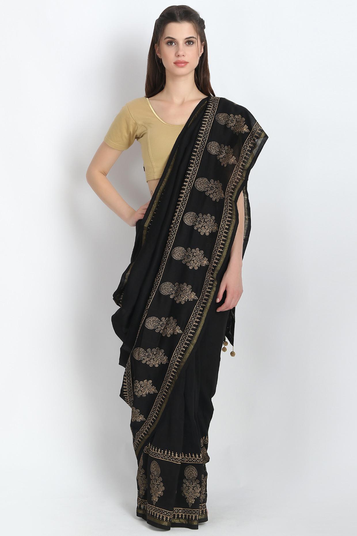 Stunning Hand Block Printed Silk Chanderi Saree In Black  by Palash