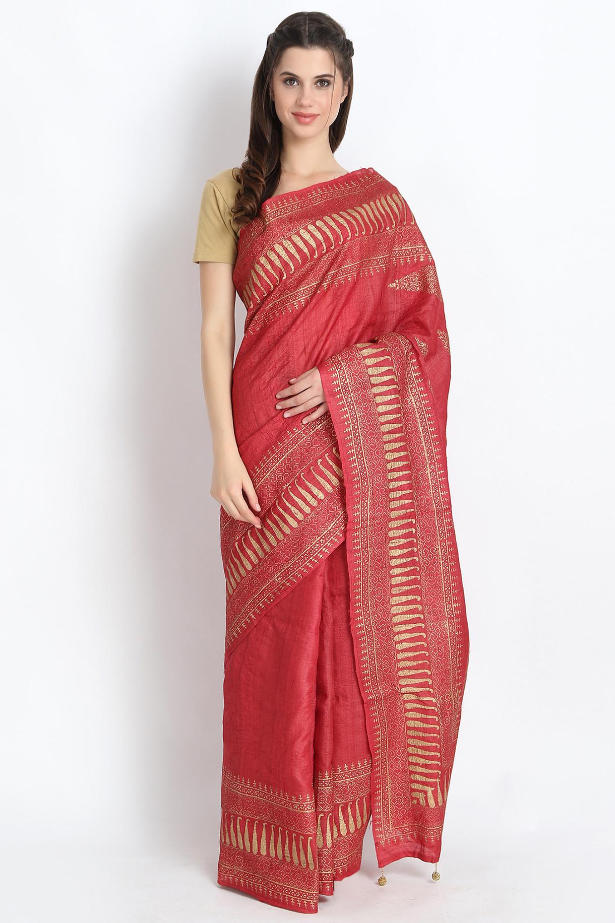 Elegant Hand Block Printed Tussar Silk Saree In Red  by Palash