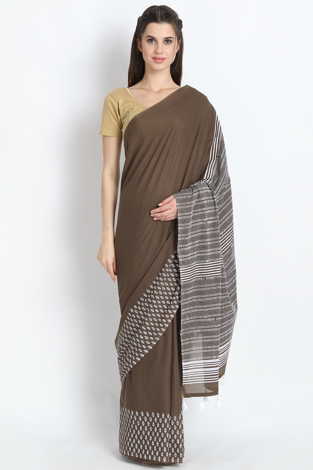 Hand Block Printed Cotton Mulmul Saree In Olive Green by Palash