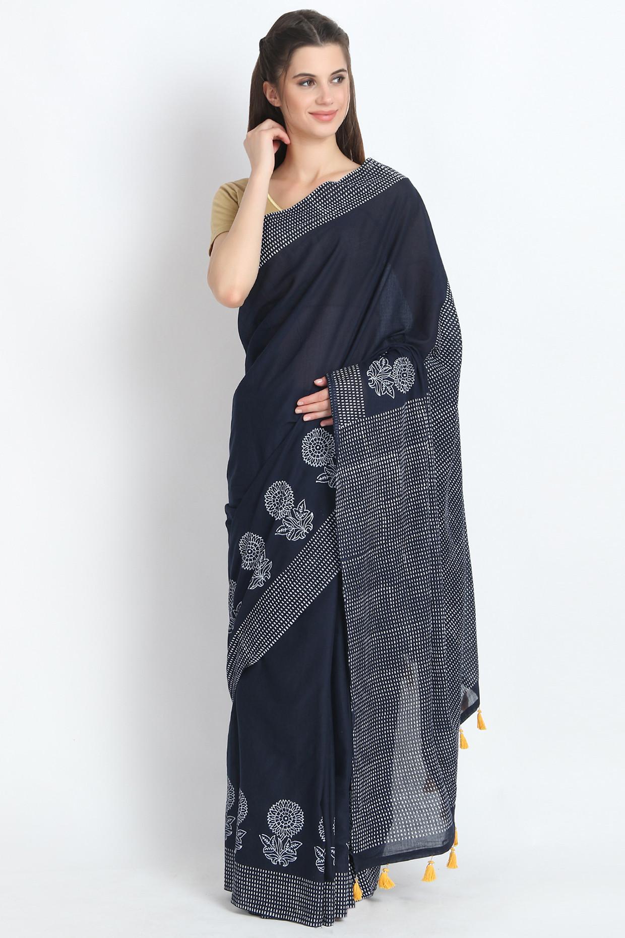 Hand Block Printed Cotton Mulmul Saree In Black by Palash