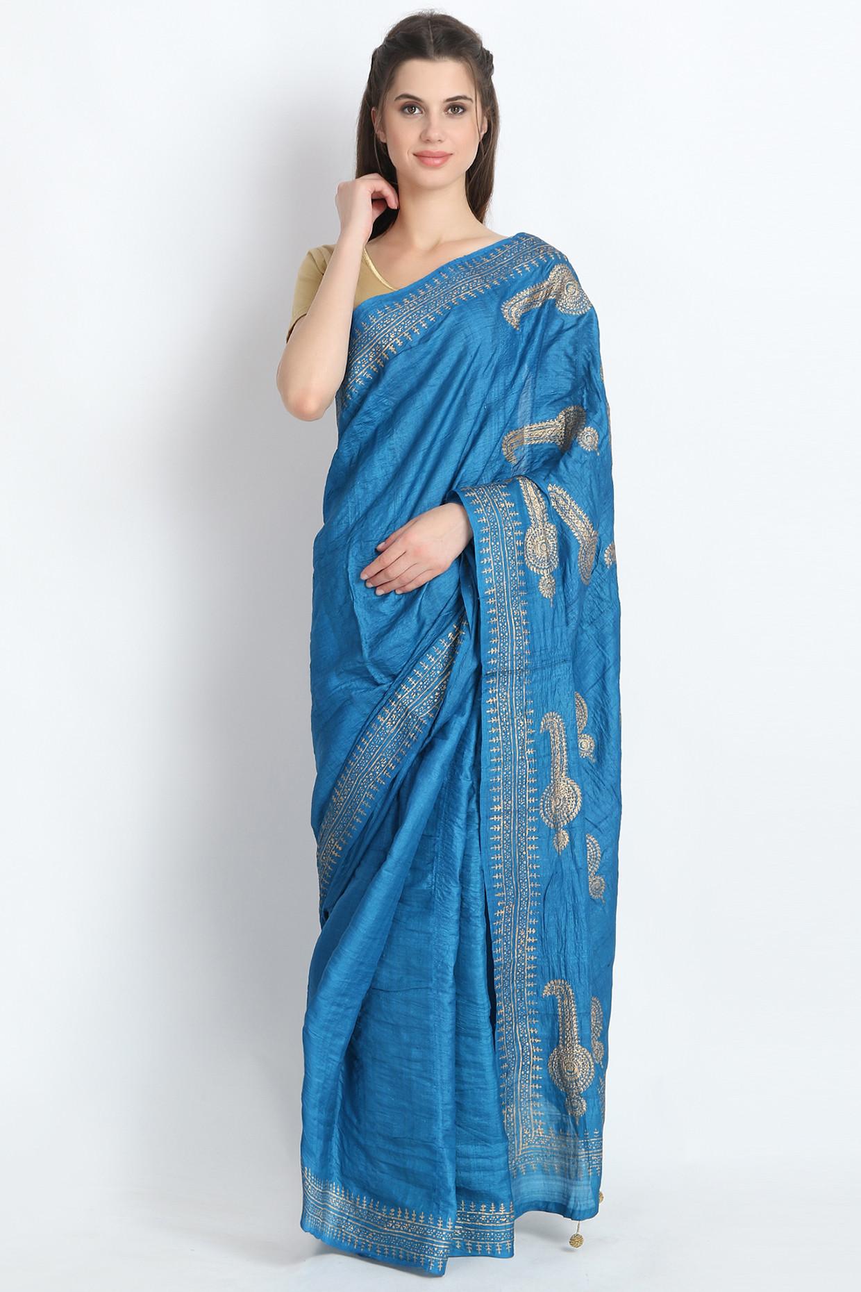Hand Block Printed Tussar Silk Saree In Powder Blue by Palash