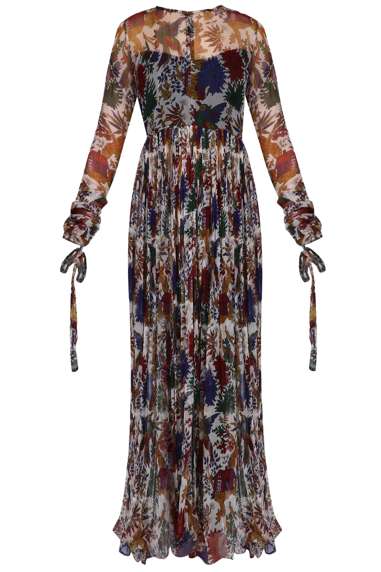 Ivory shikara print chiffon maxi dress by Pallavi Jaipur