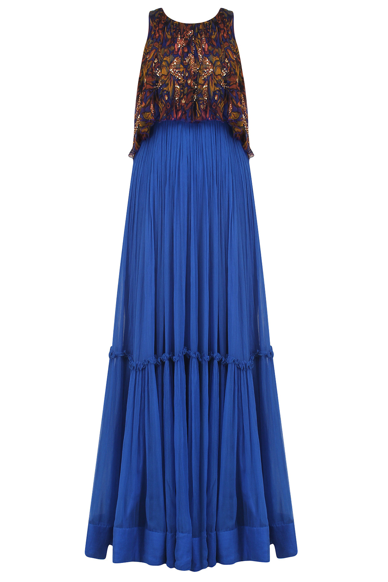 Blue Tiered Rapid Print Sequinned Gown by Pallavi Jaipur