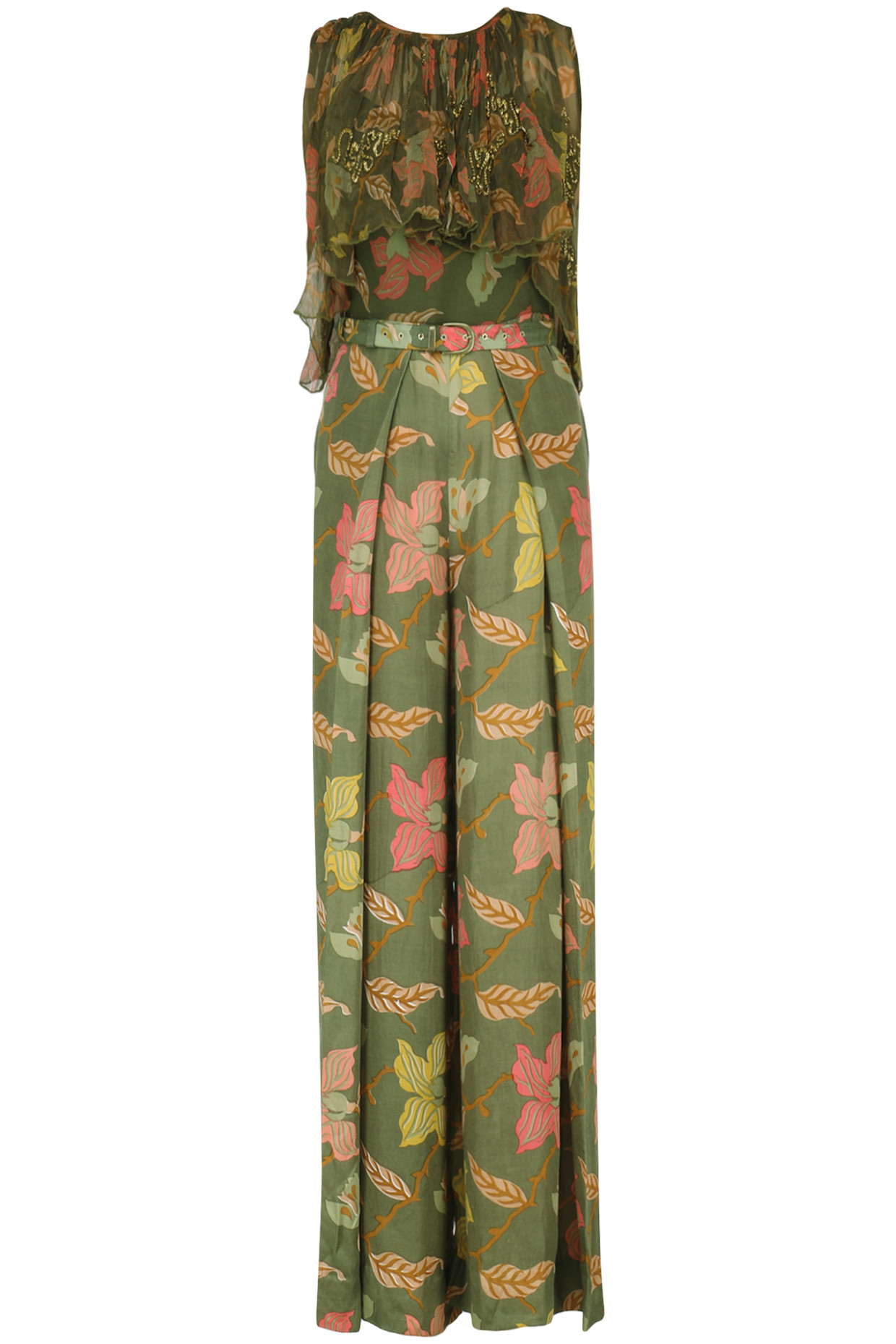 Henna Green Printed Jumpsuit with Crop Jacket by Pallavi Jaipur