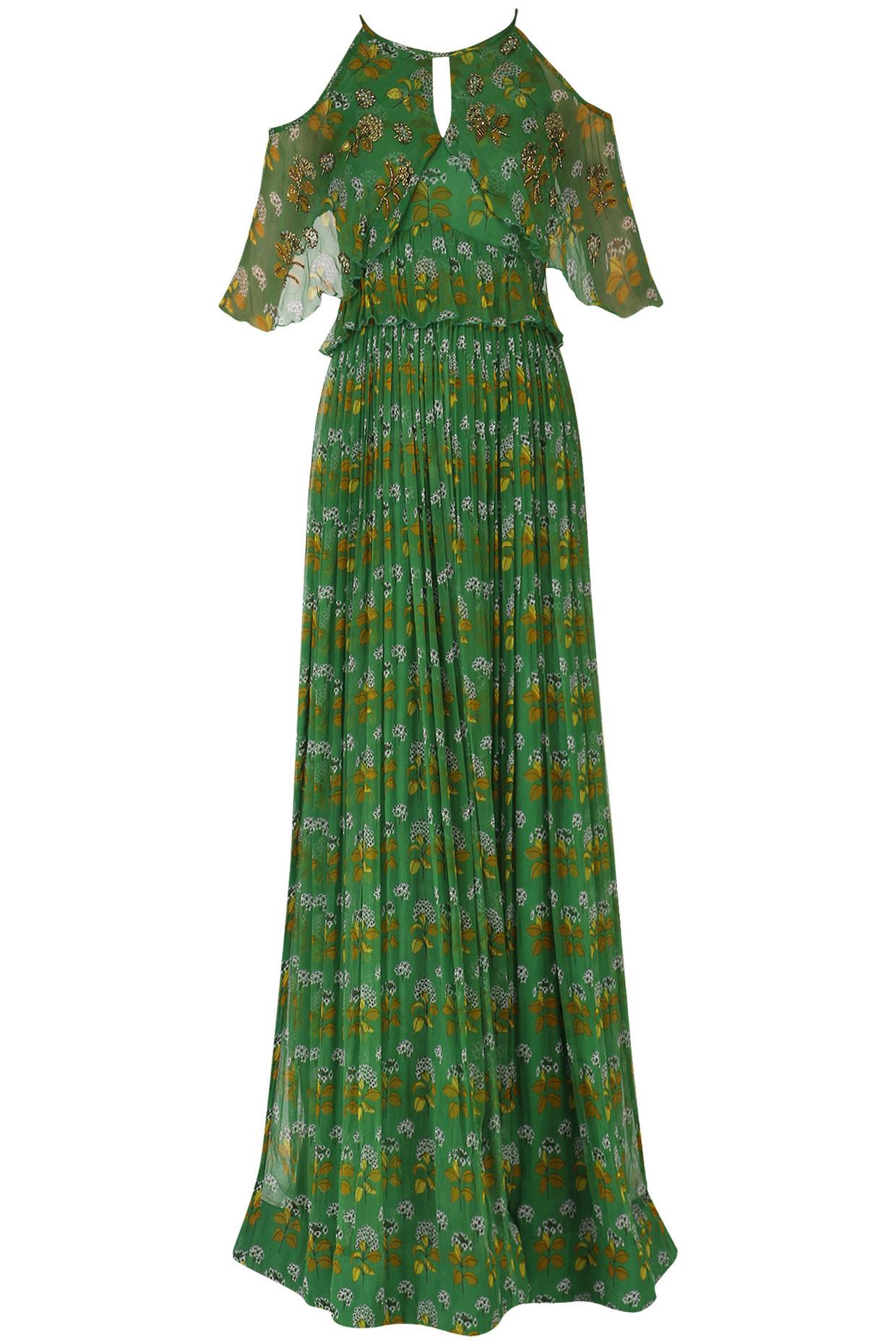 Leaf Green Cold Shoulder Maxi Dress by Pallavi Jaipur