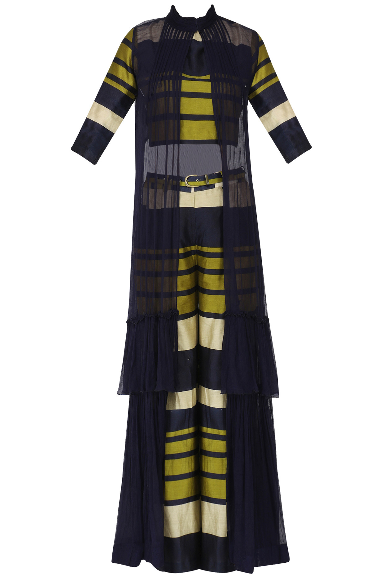Navy Blue and Olive Green Striped Crop Top, Culottes and Cape Set by Pallavi Jaipur