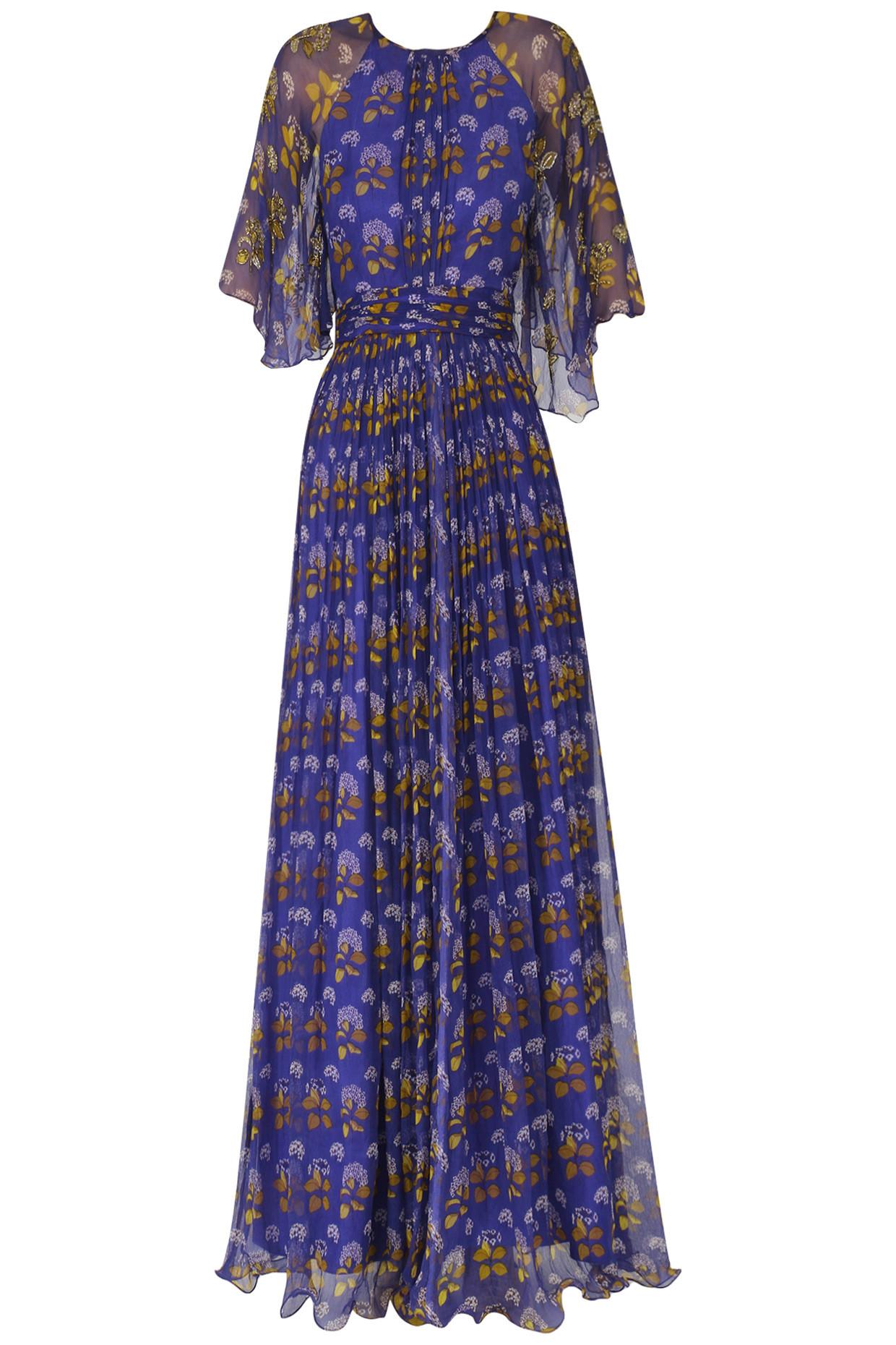 Royal Blue Kimono Maxi Dress by Pallavi Jaipur