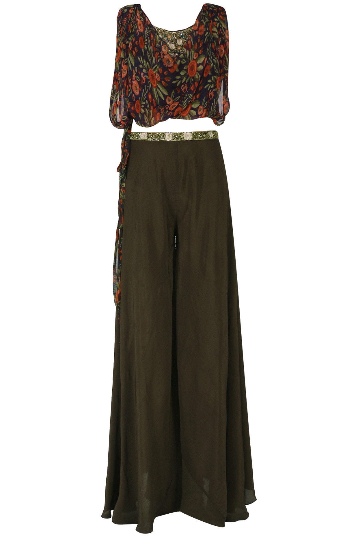 Brown Embroidered Top with Palazzo and Tie Over Layer Set by Pallavi Jaipur