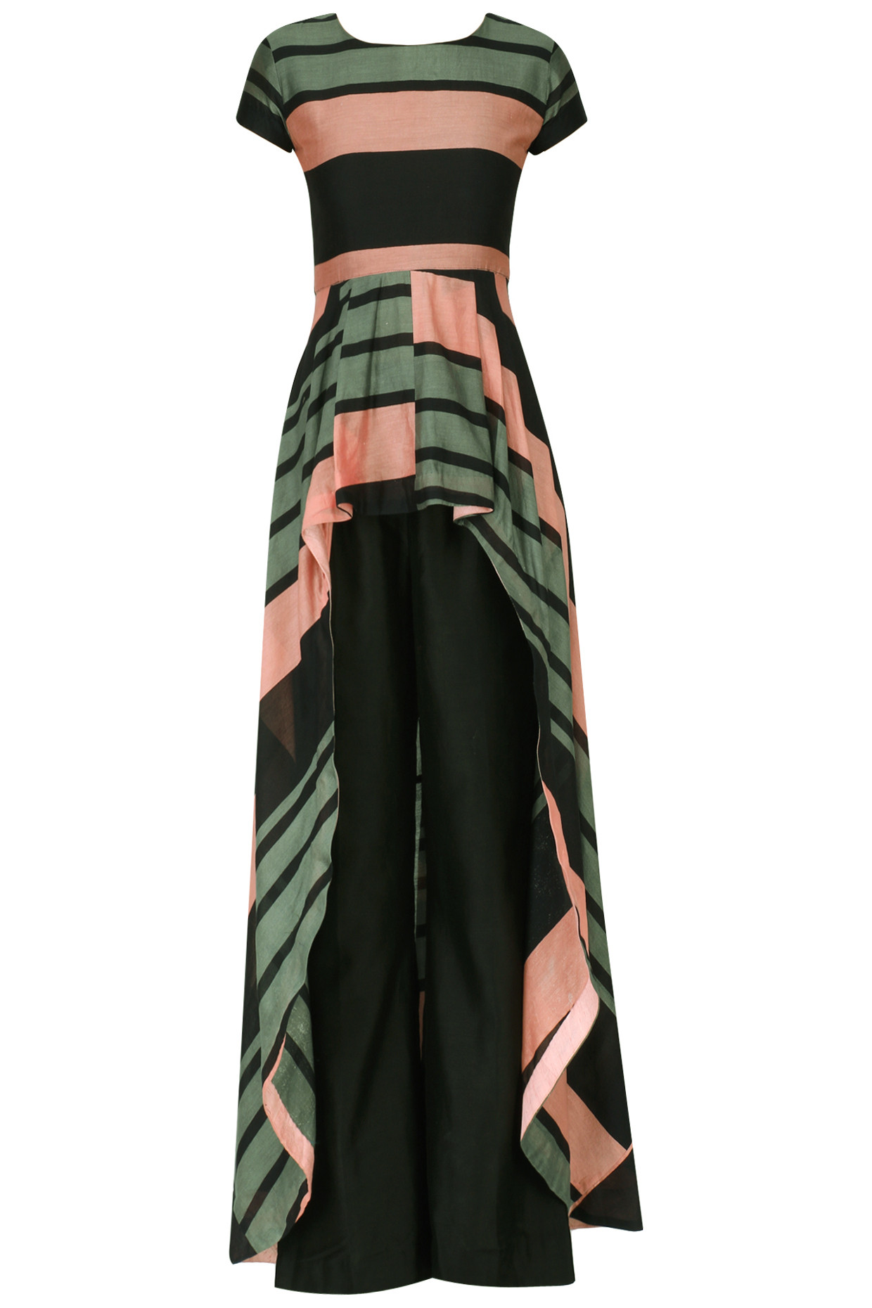 Salmon Pink and Steel Grey Printed Top with Pants by Pallavi Jaipur