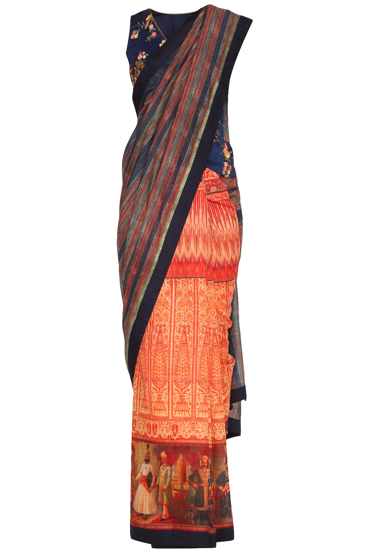 Navy Blue Printed Embroidered Saree Set by Pranay Baidya