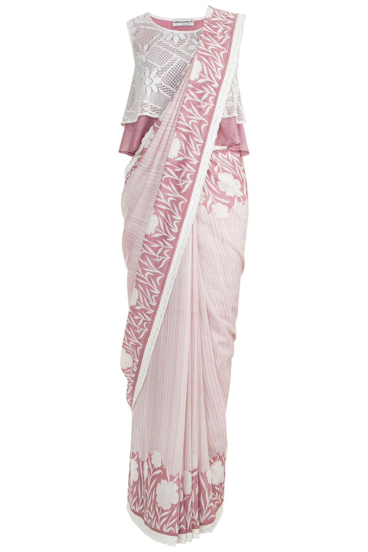 Onion Pink Printed Saree Set by Pinnacle by Shruti Sancheti
