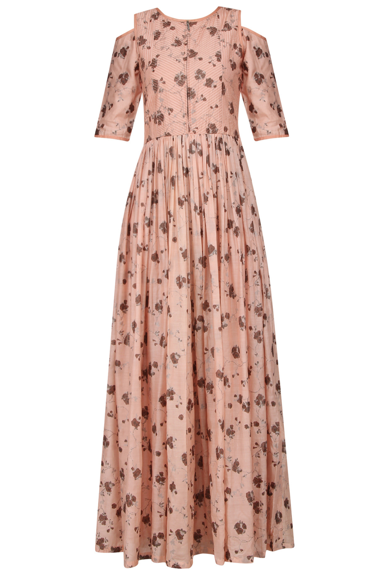 Blush Pink Cracker Print Cold Shoulder Pleated Maxi Dress by Pinnacle by Shruti Sancheti