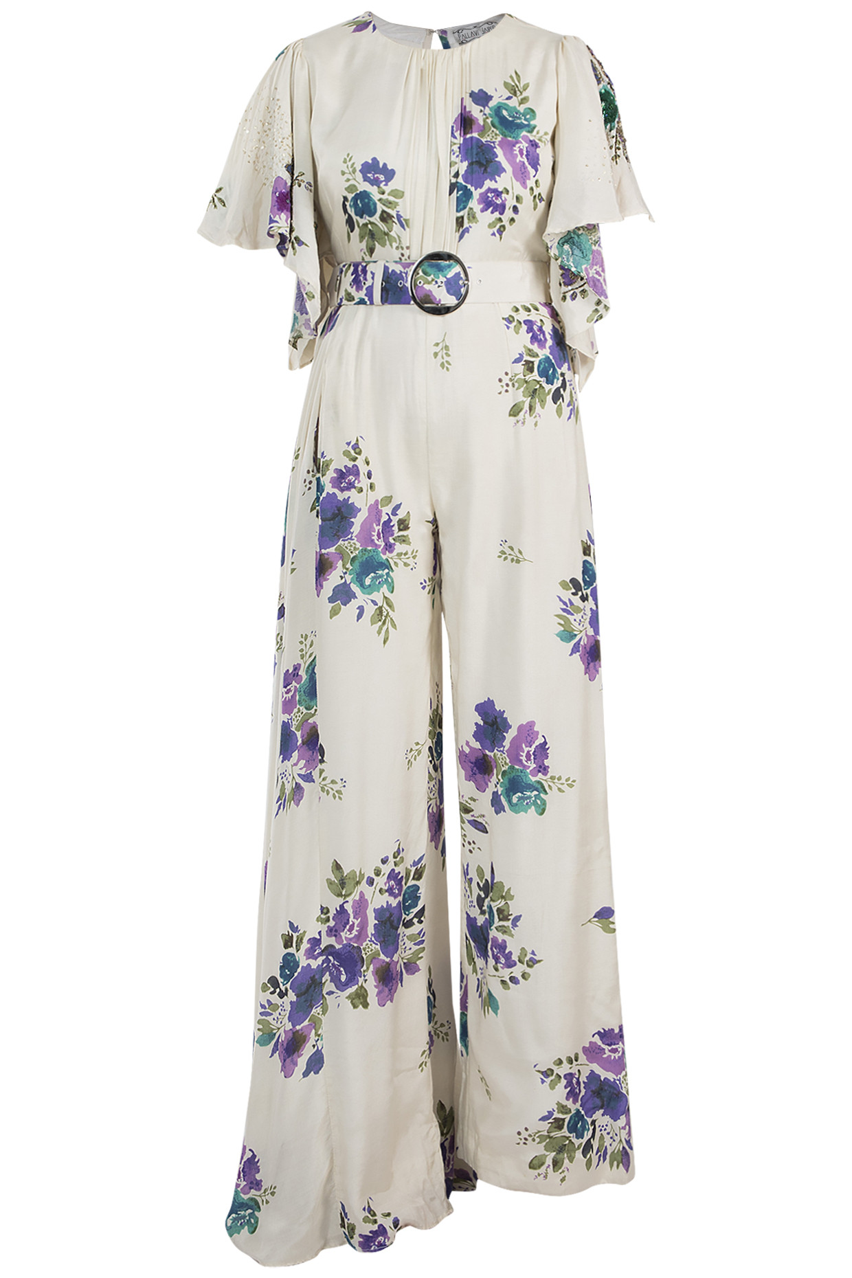 Ivory Printed Flared Jumpsuit With Belt by Pallavi Jaipur