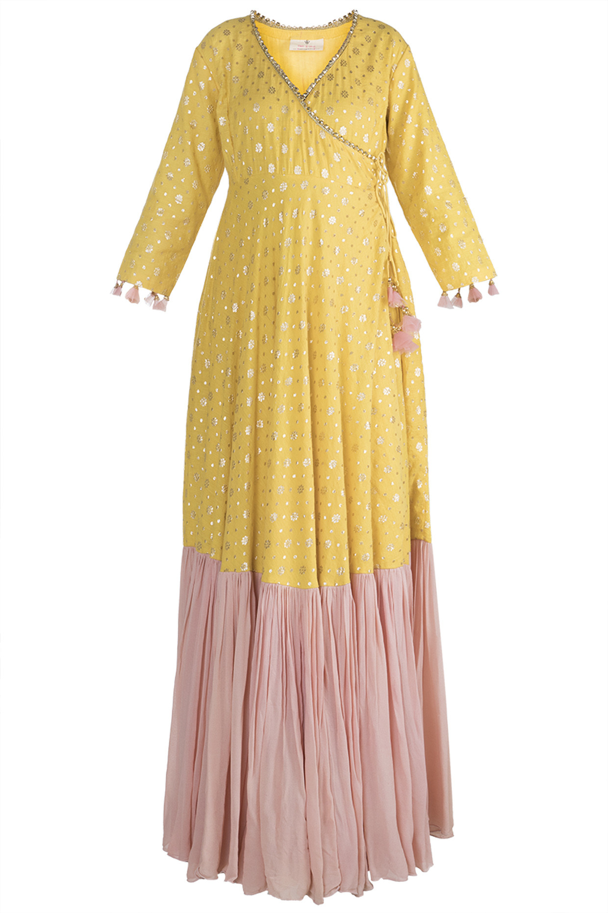 Yellow & Blush Pink Printed Angrakha Anarkali Set by Rishi & Vibhuti