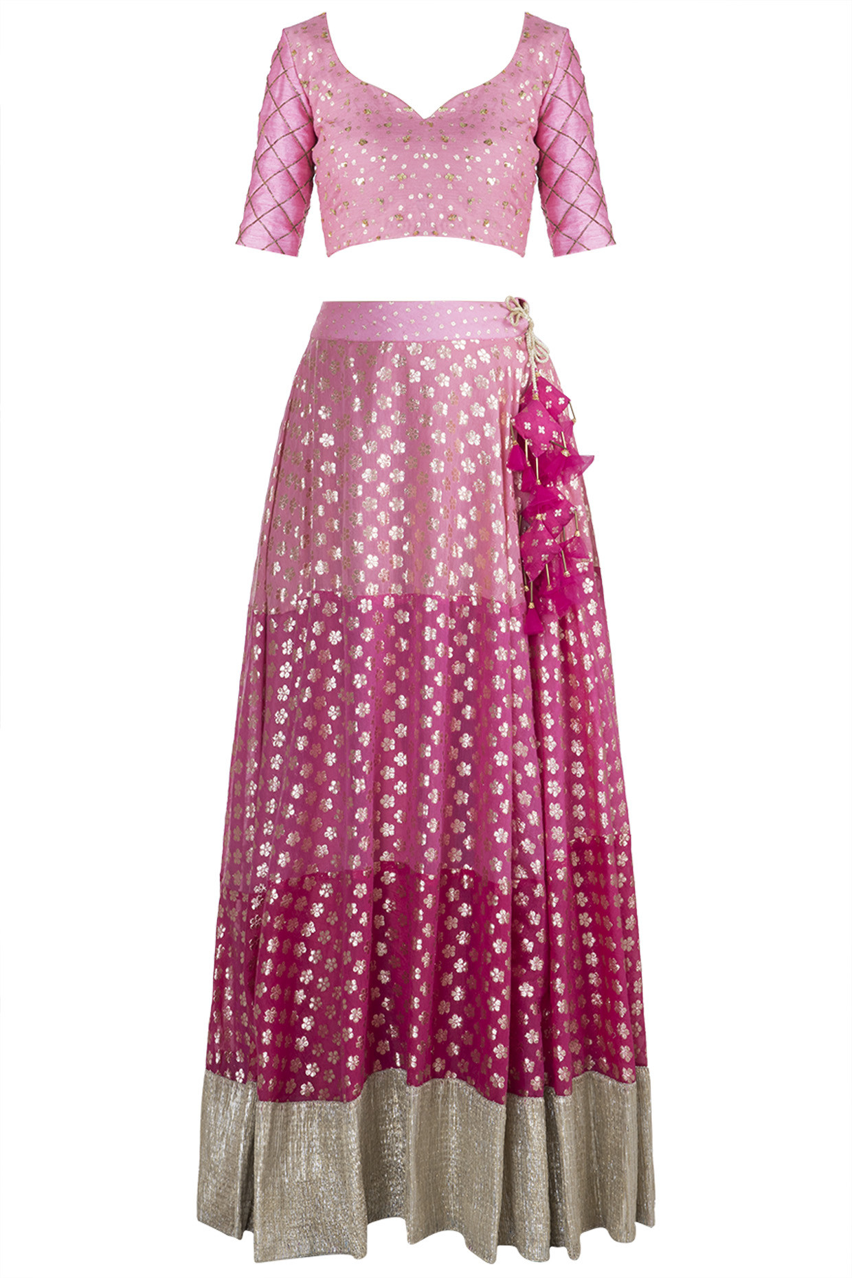 Pink Shaded & Tasseled Lehenga Set by Rishi & Vibhuti