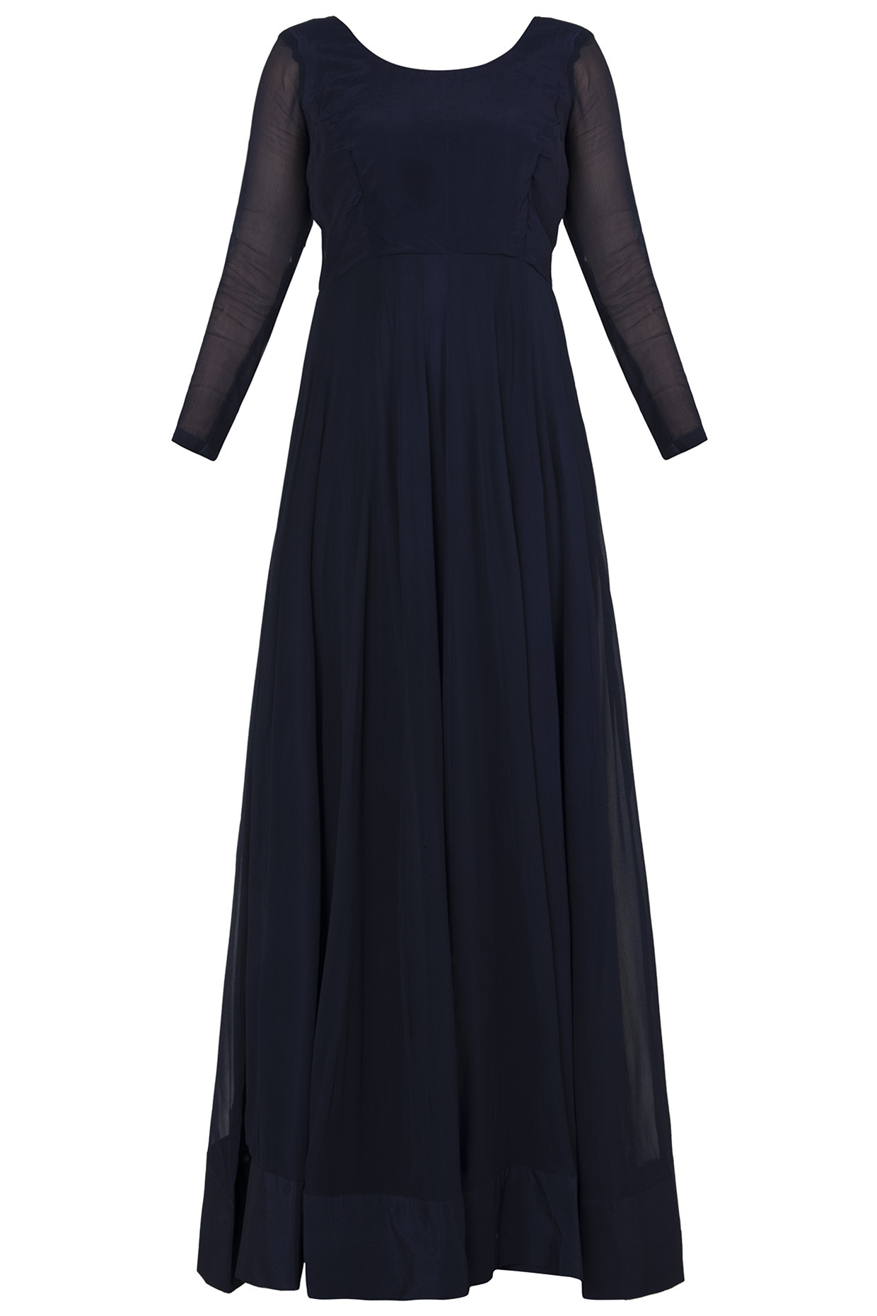 Midnight Blue Embroidered Anarkali Gown by Rishi & Vibhuti