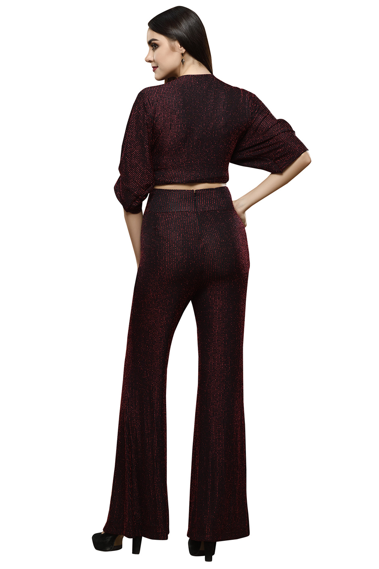Red Metallic Crop Top With Palazzo Pants by RS by Rippi Sethi