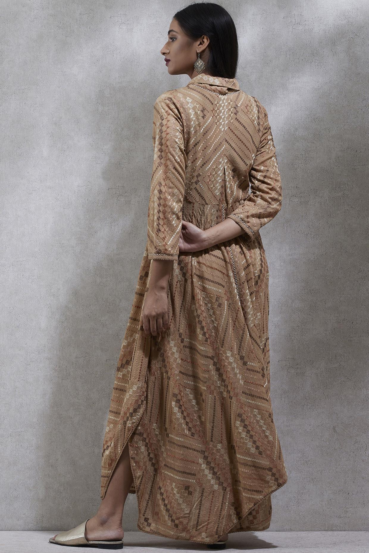 Beige Asymmetric Kurta Dress by Ritu Kumar