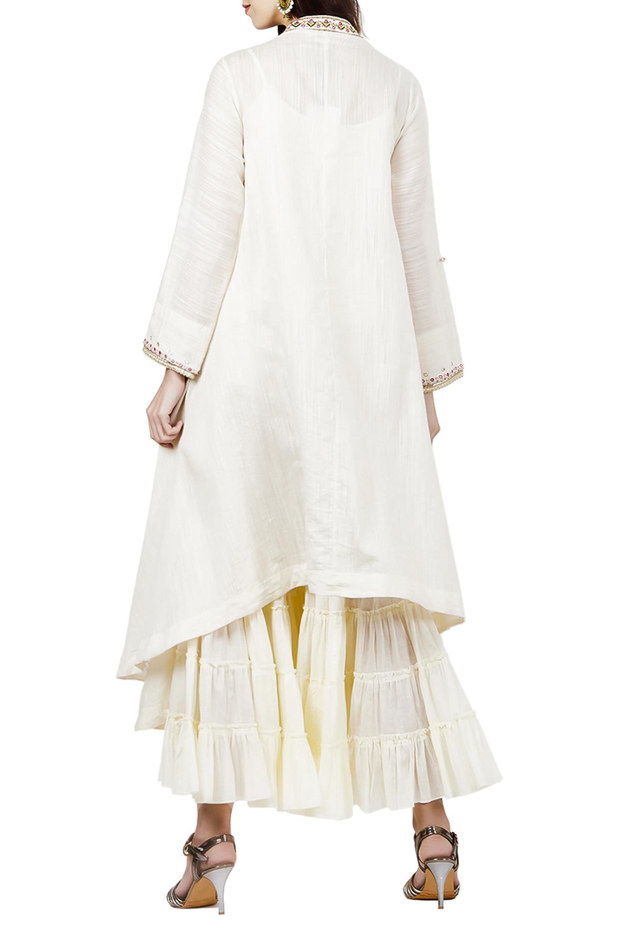 Off White Embroidered Long Kurta With Ivory Palazzo Pants by Ritu Kumar