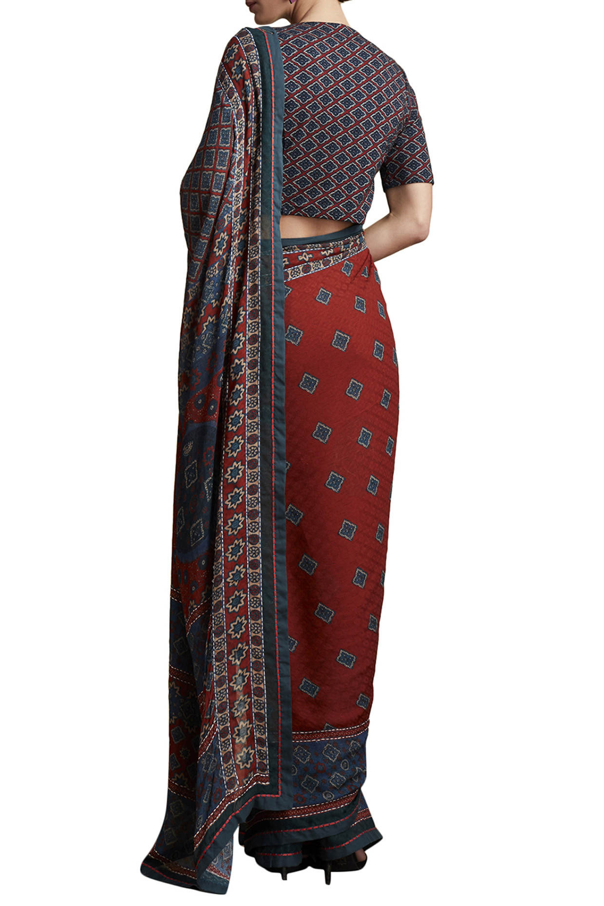 Red Printed Saree by Ritu Kumar