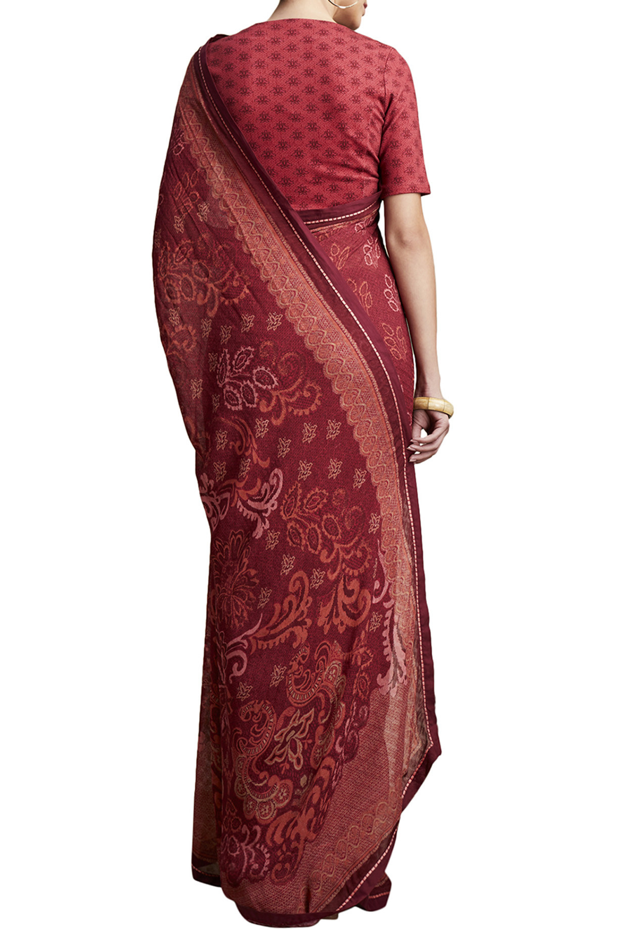 Red Printed Floral Saree by Ritu Kumar