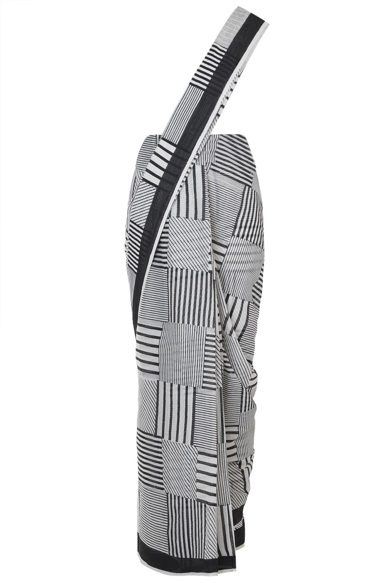 Black Cotton Saree With Checks Block Print by Silk Waves