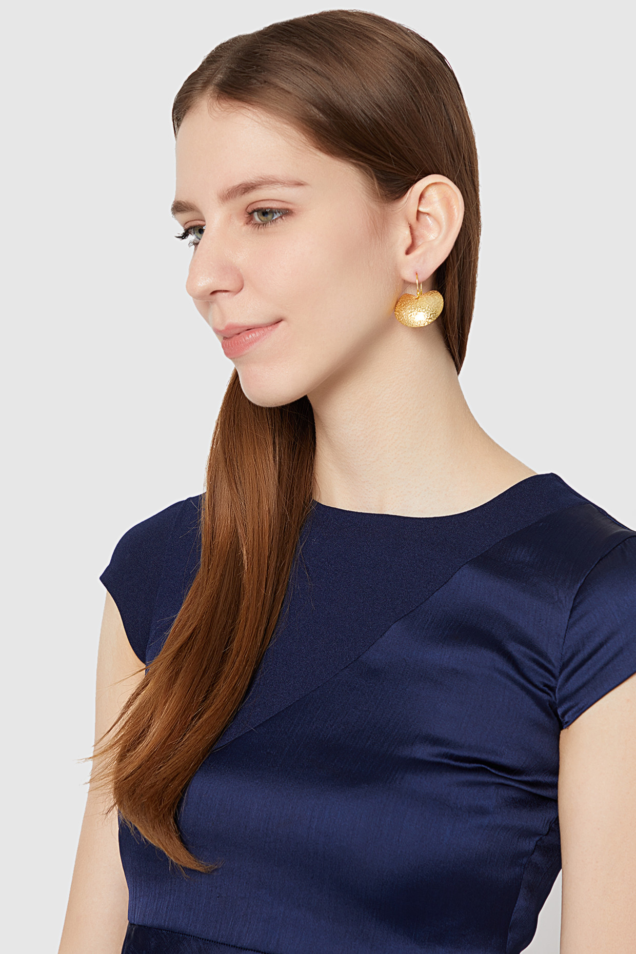 Gold Plated Textured Semi Circular Earring by Soraya