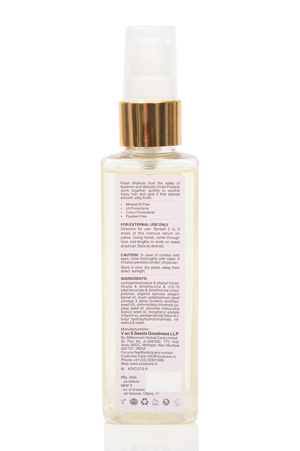 Violet Flower & Kashmiri Walnut Anti Frizz Hair Serum For All Hair Types by SOVA