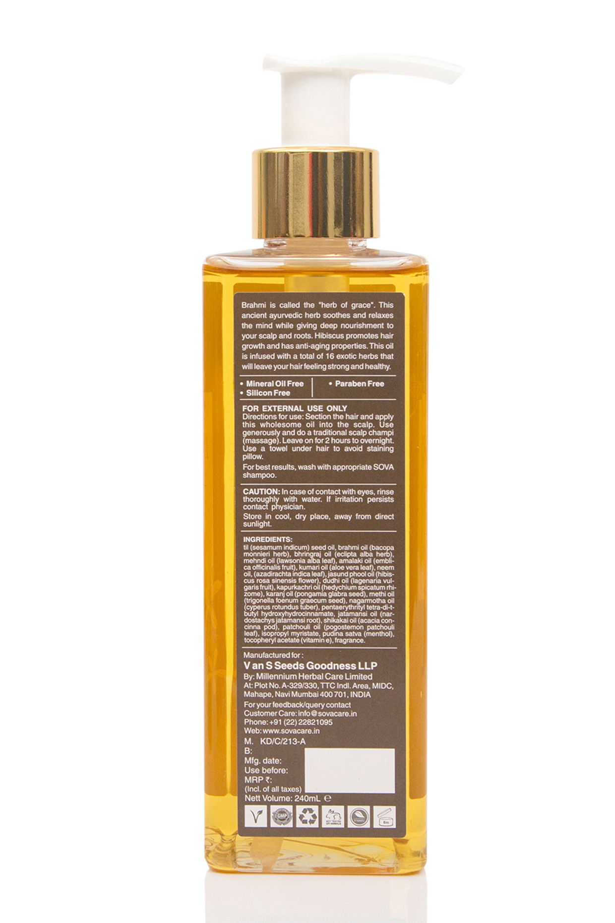 Hibiscus & Brahmi Hair Massage Oil by SOVA