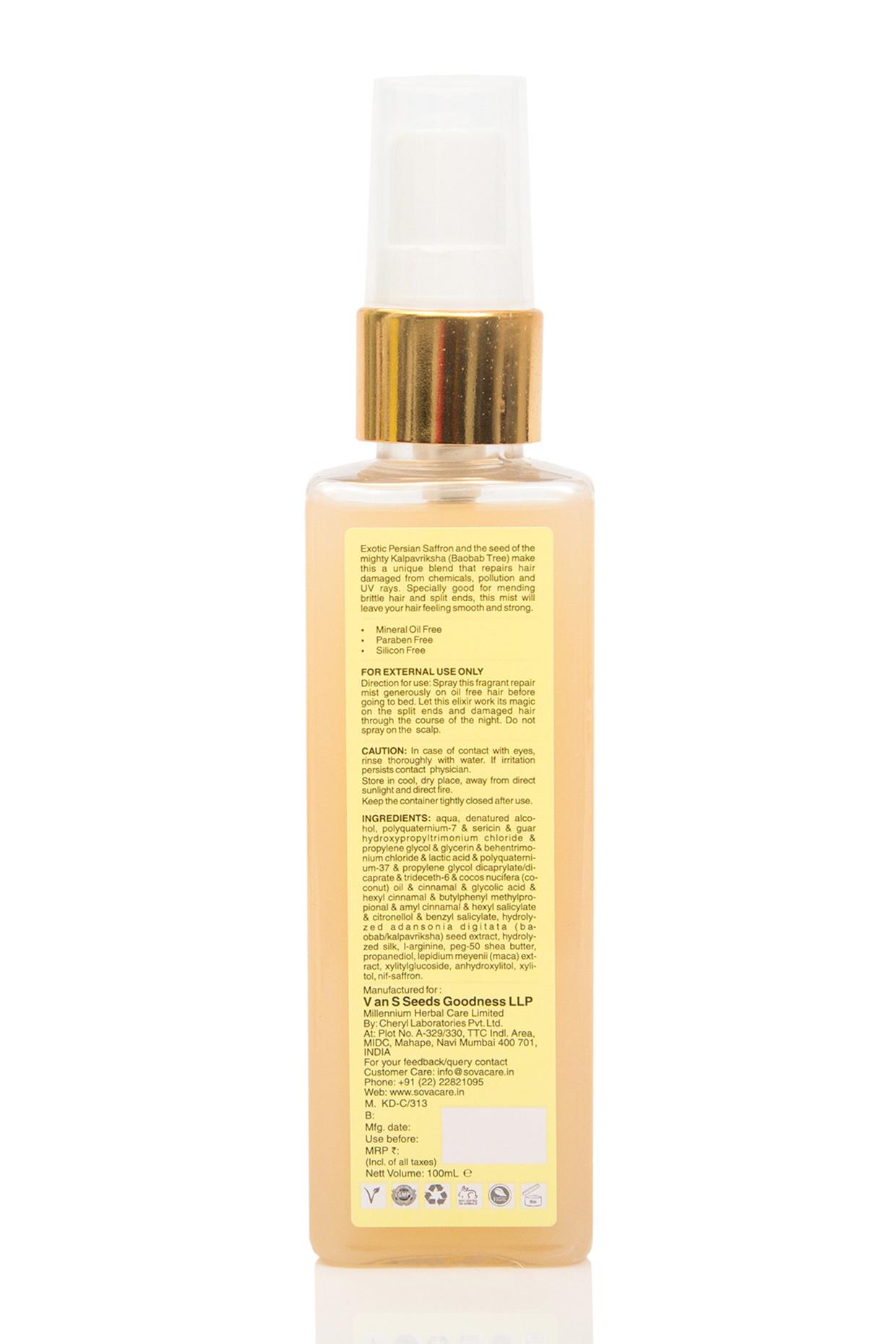 Kalpavriksha Seed & Saffron Overnight Hair Repair Mist For All Hair Types by SOVA