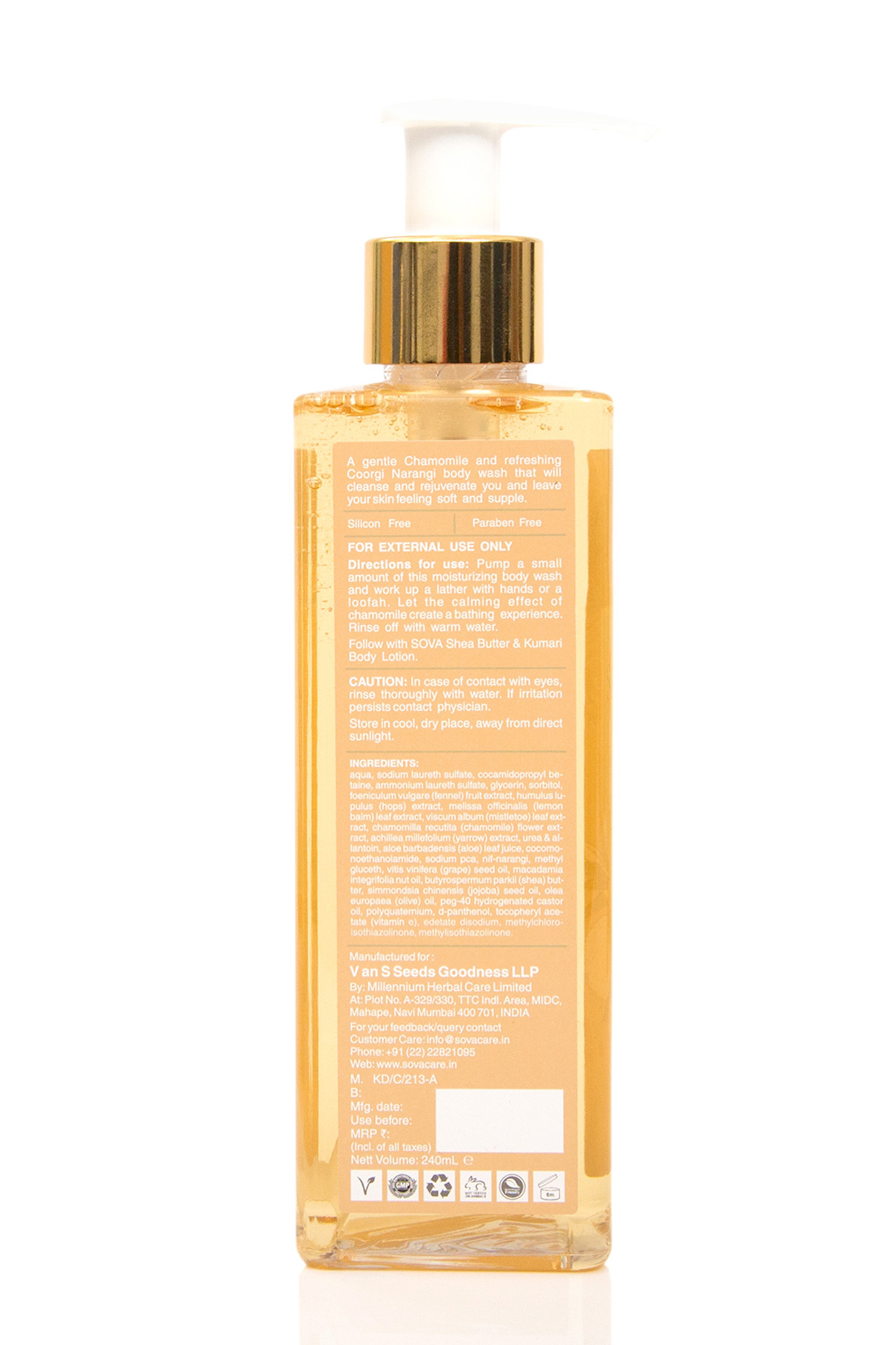 Coorgi Narangi & Chamomile Body Wash For Normal to Dry Skin by SOVA