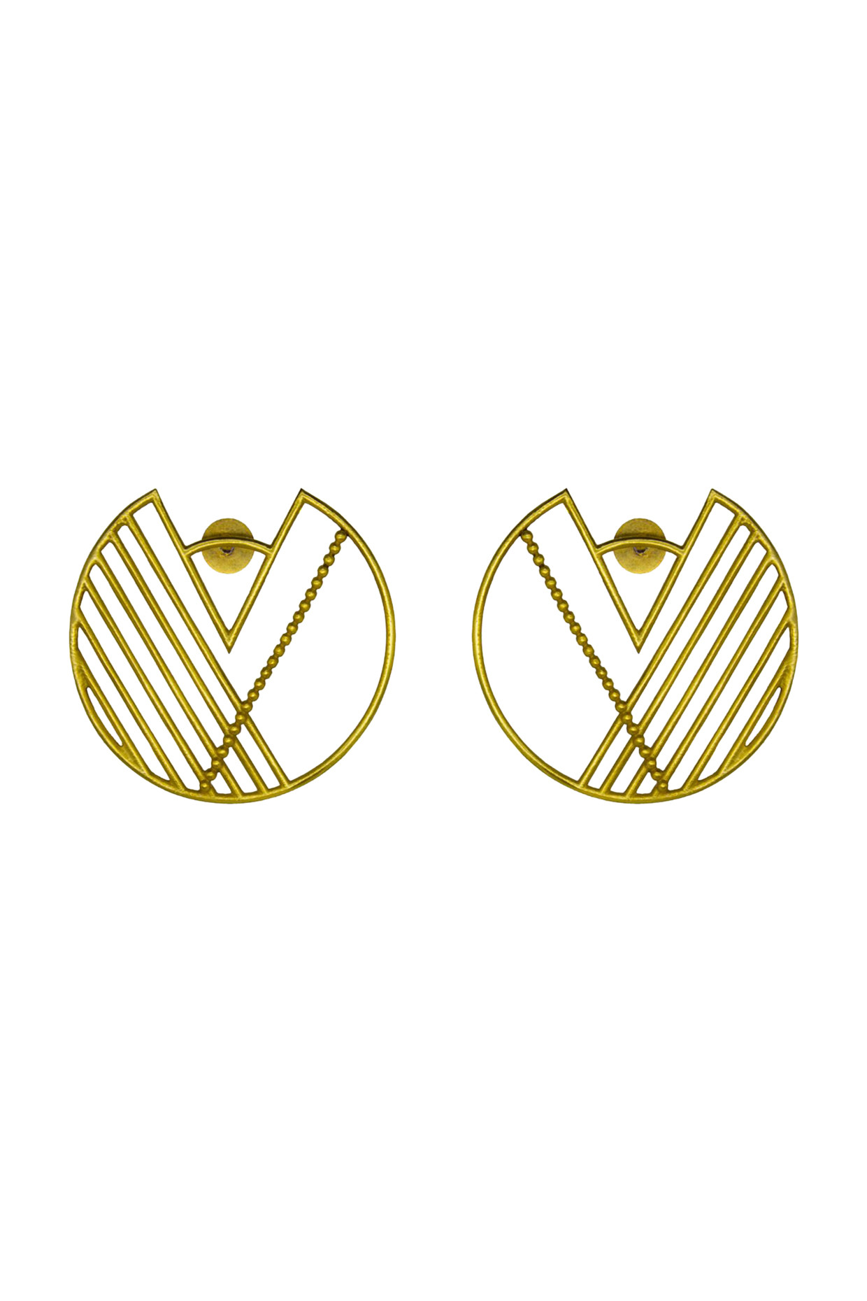 Handcrafted Circle Brass Earrings In Gold by Toorya