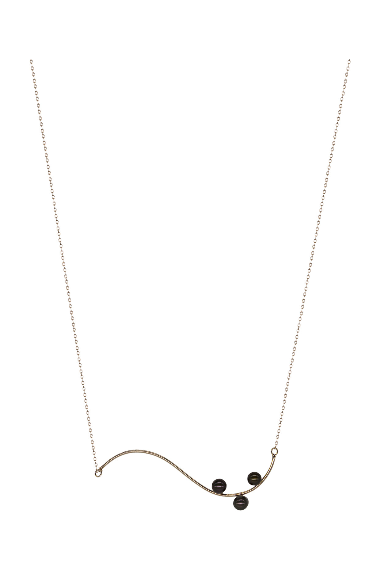 Handcrafted Silver Curve Necklace In Rose Gold by Toorya