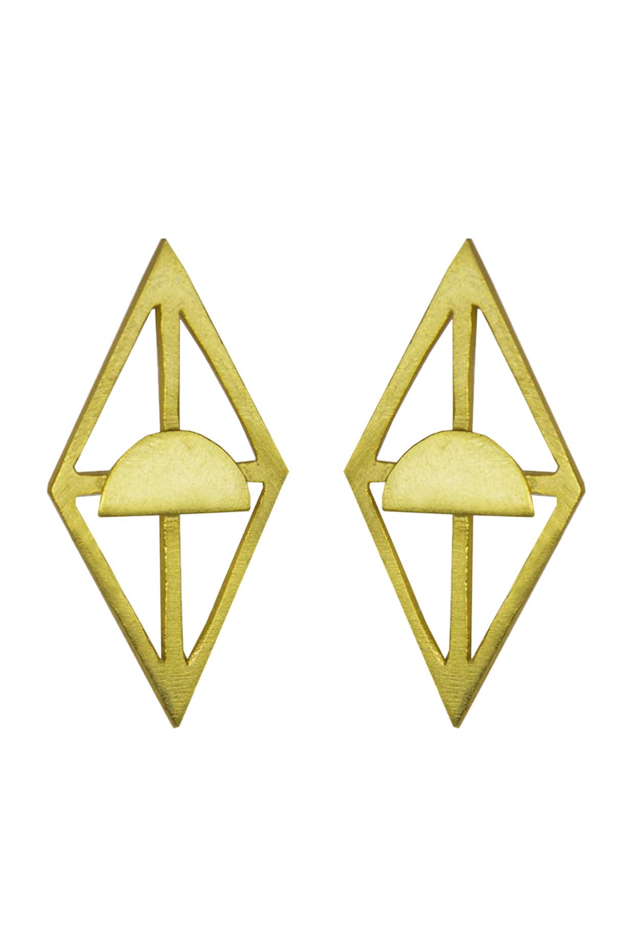 Handcrafted Rhombus Brass Earrings In Gold by Toorya