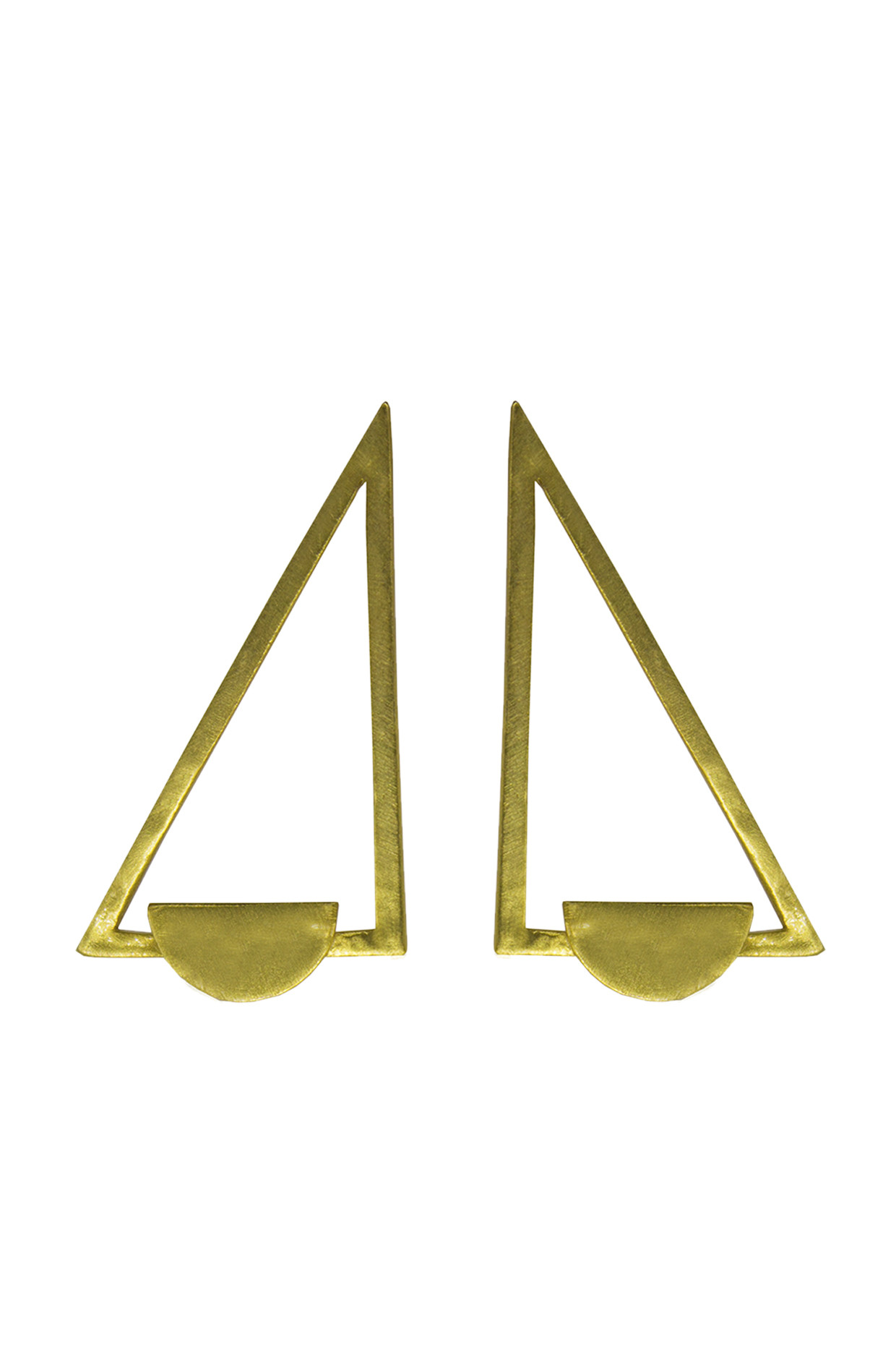 Handcrafted Brass Right Triangle Earrings In Gold by Toorya