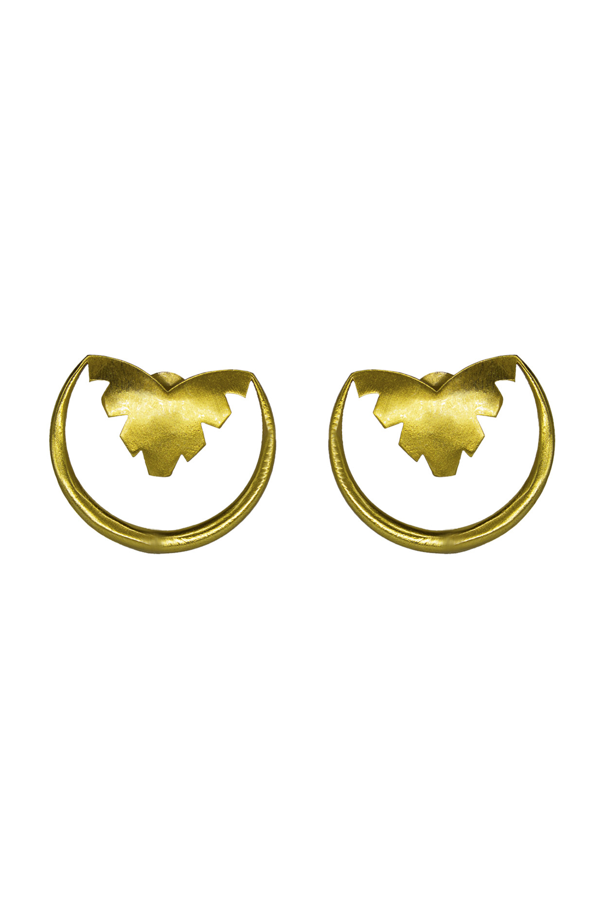 Handcrafted Brass Semi Circle Earrings In Gold by Toorya