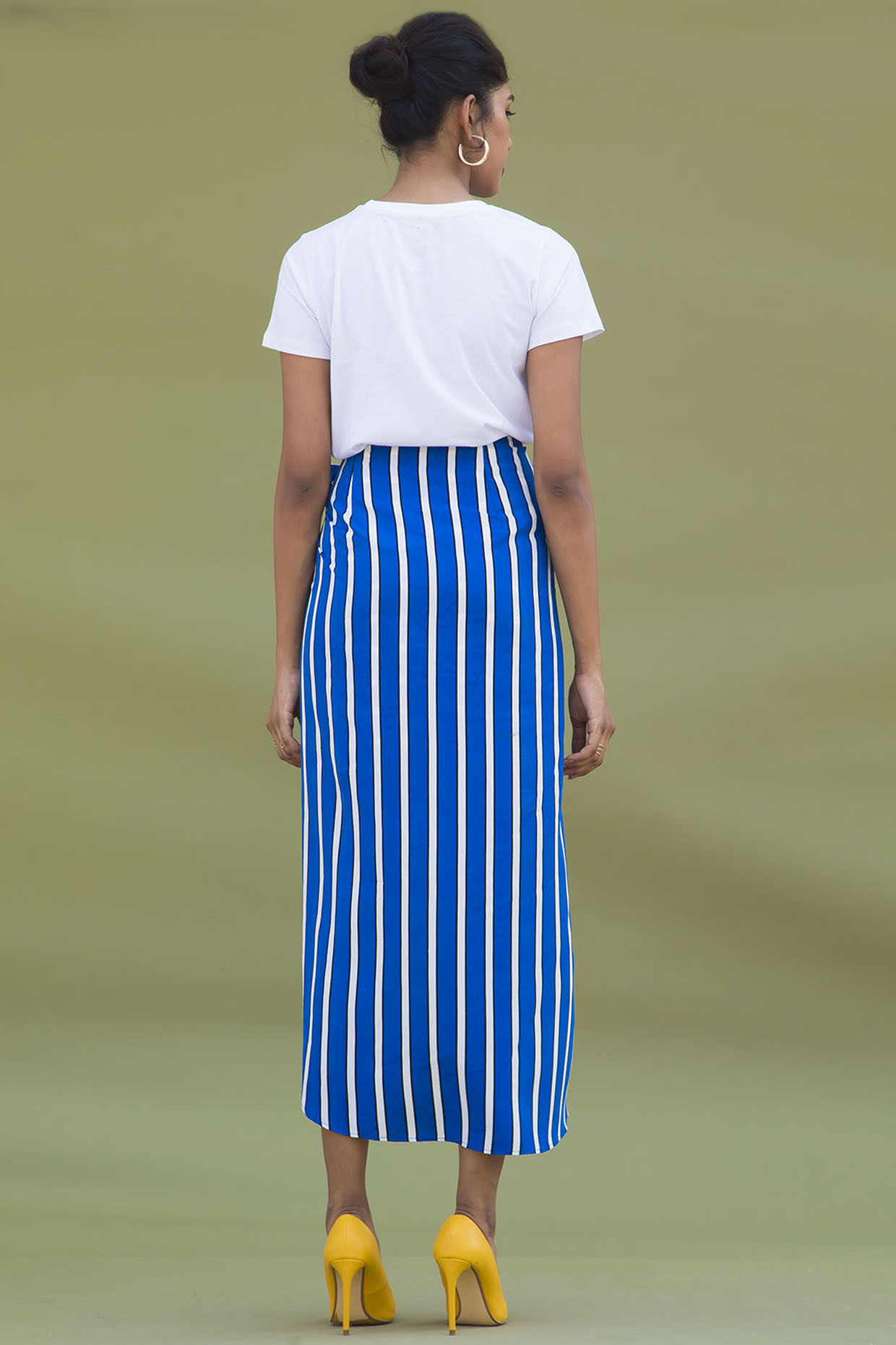 Blue And White Striped Overlapped Skirt by Urban Suburban