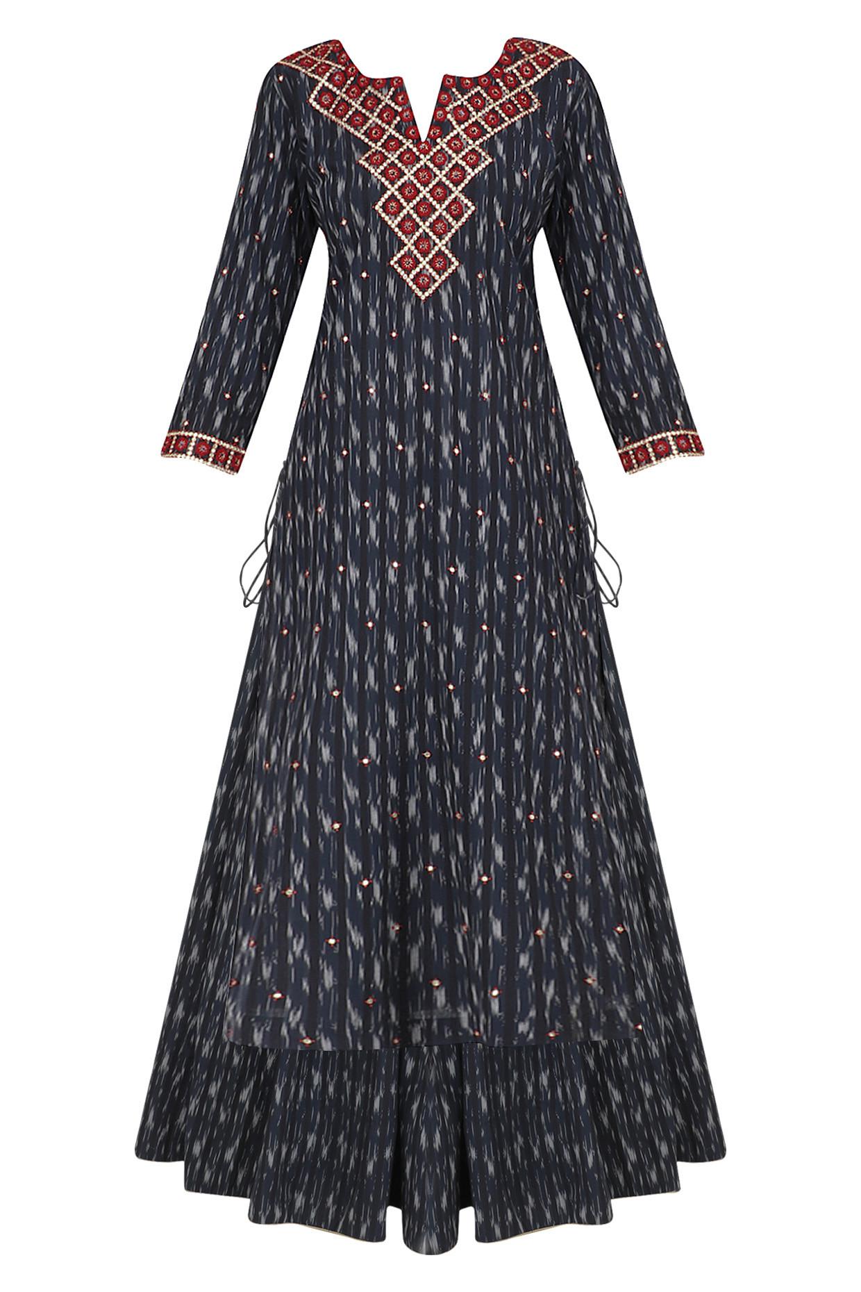 Indigo Blue Ikkat Print Kurta and Skirt Set by Surendri