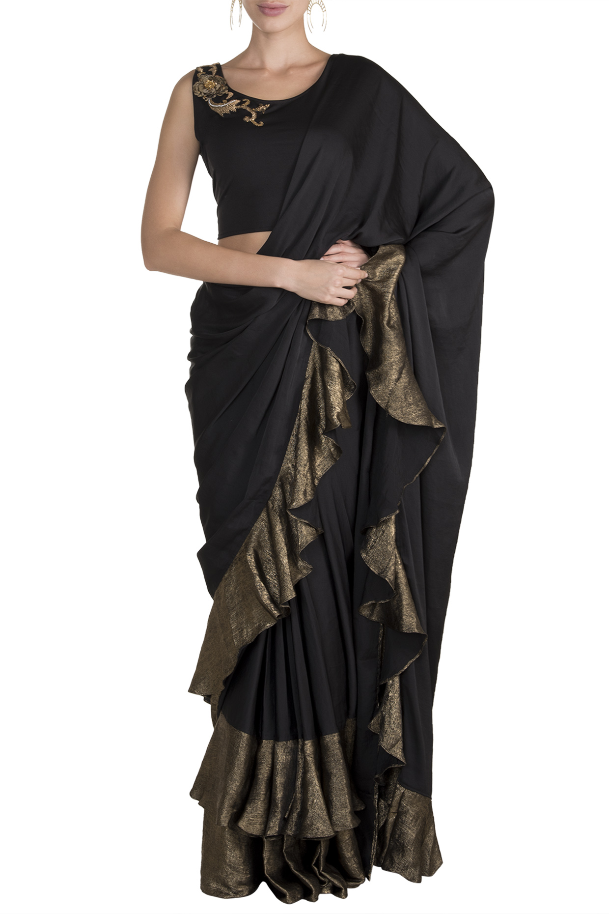 Black Embellished Saree Set