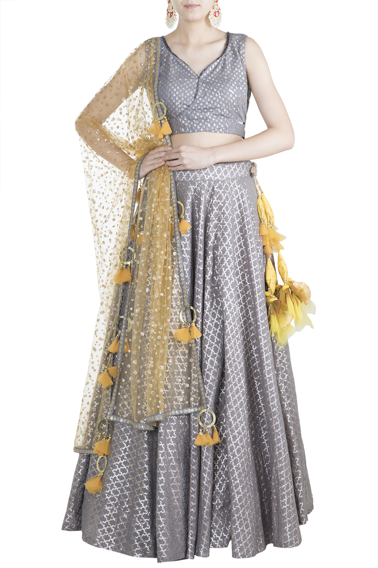 Grey & Yellow Chanderi Lehenga Set