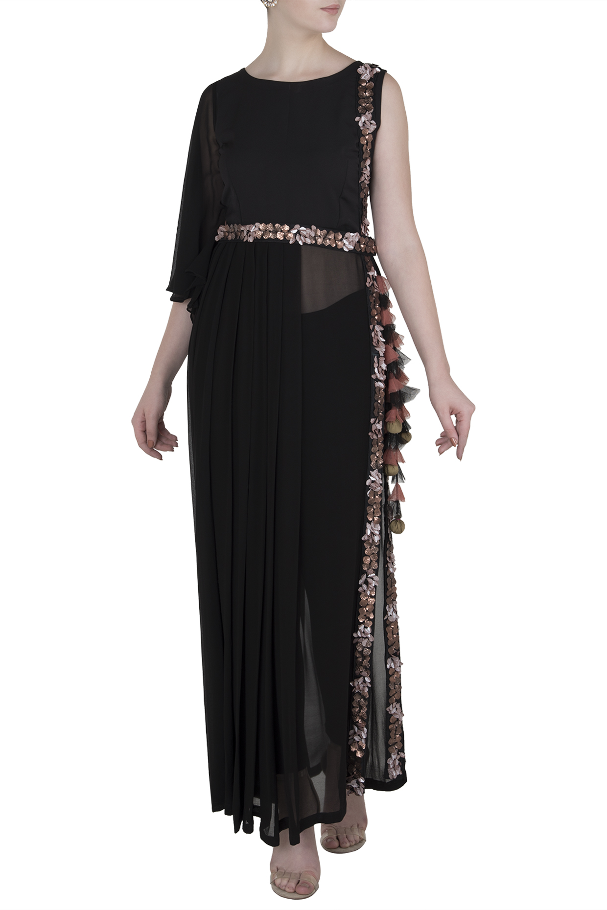 Black One Side Long Dress