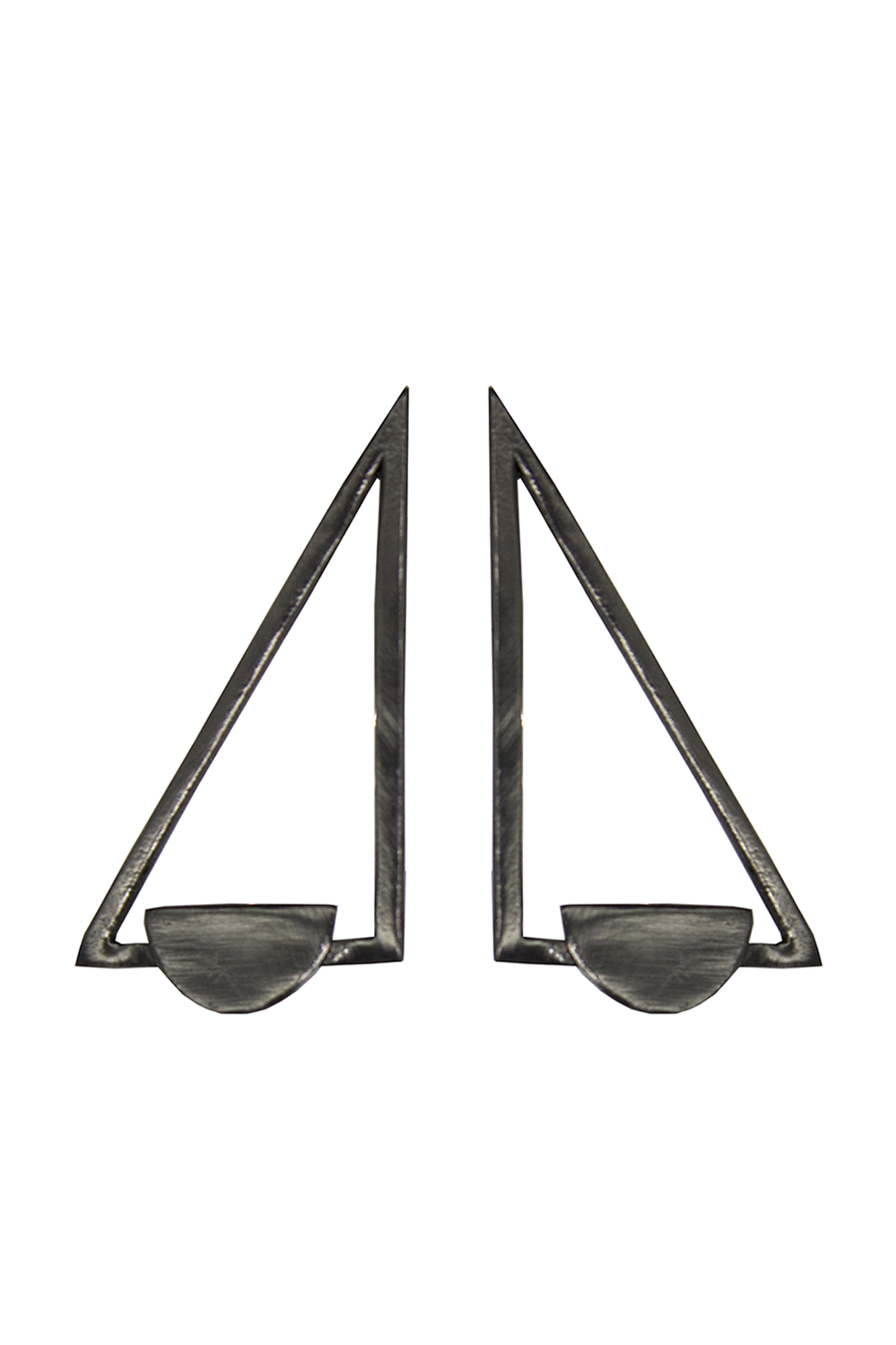 Handcrafted Brass Triangle Earrings In Black