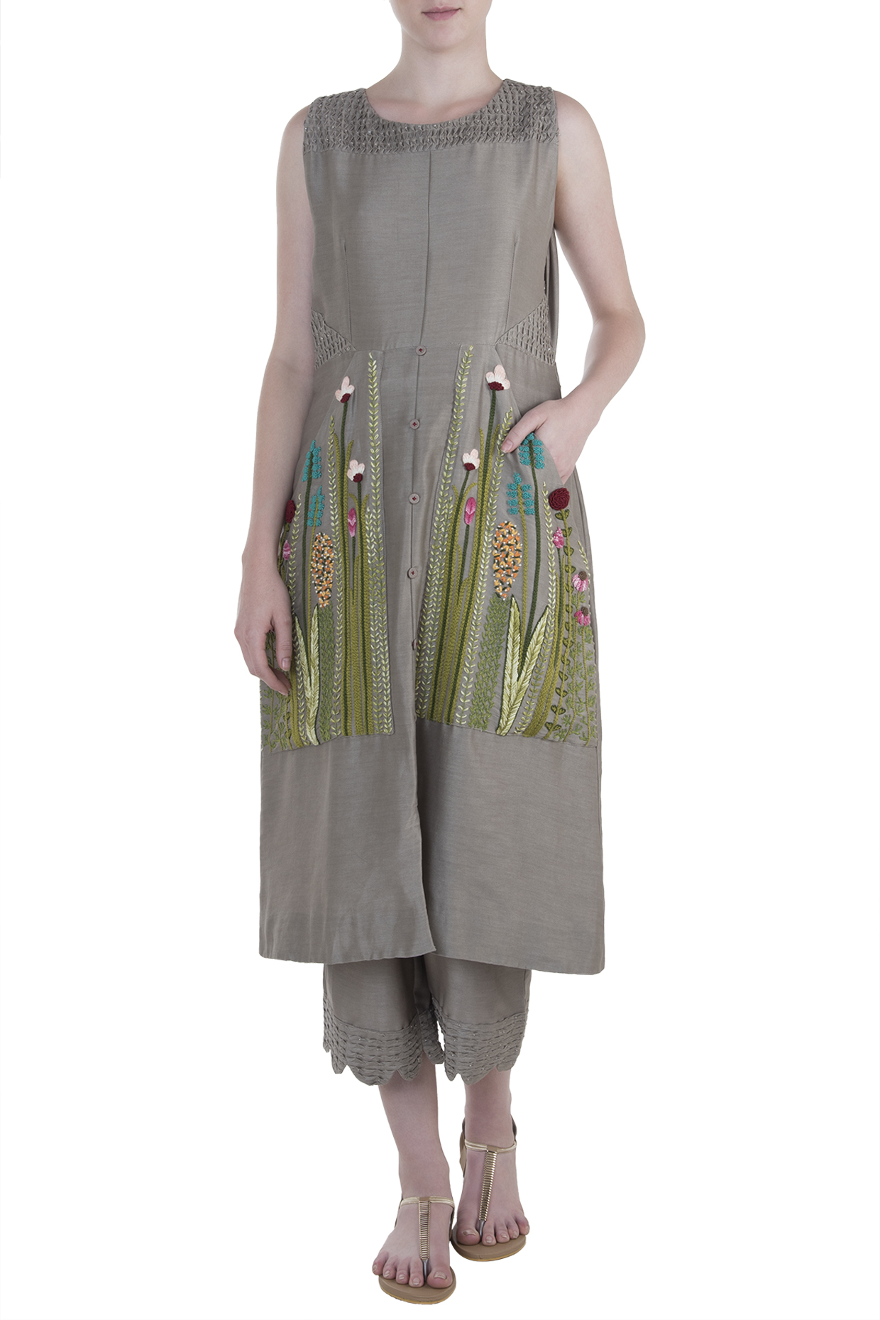 Taupe Embroidered Kurta with Pants