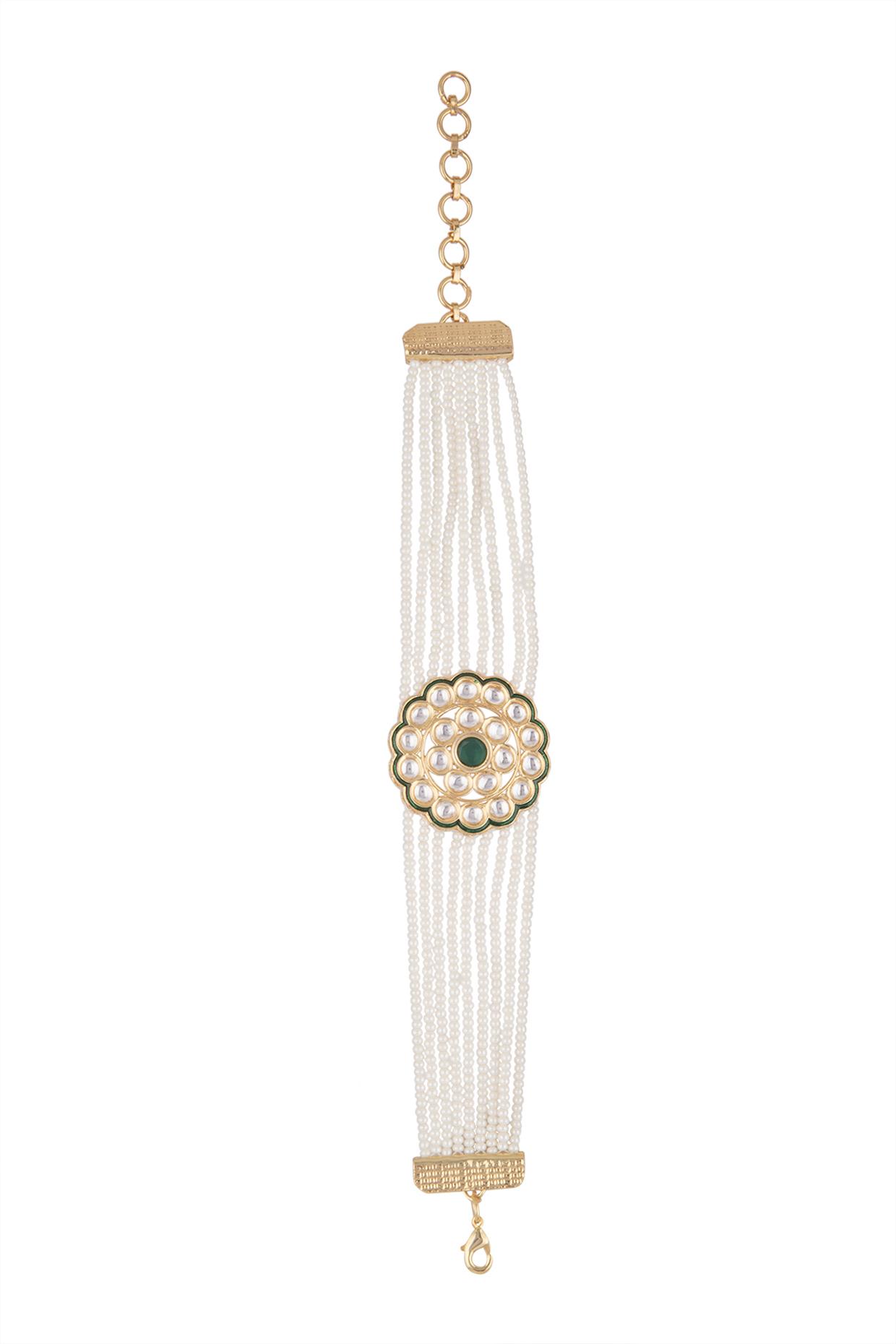 Gold Finish Faux Kundan & Pearl Bracelet