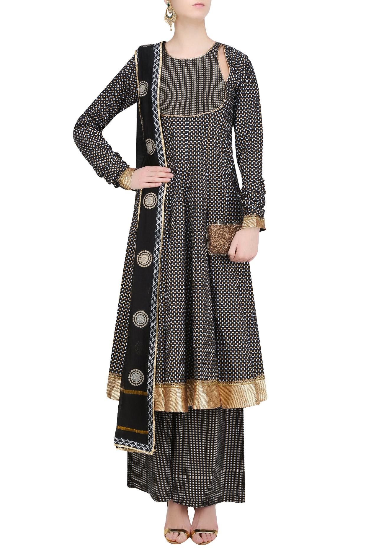 Black Printed Anarkali Kurta and Sharara Pants Set