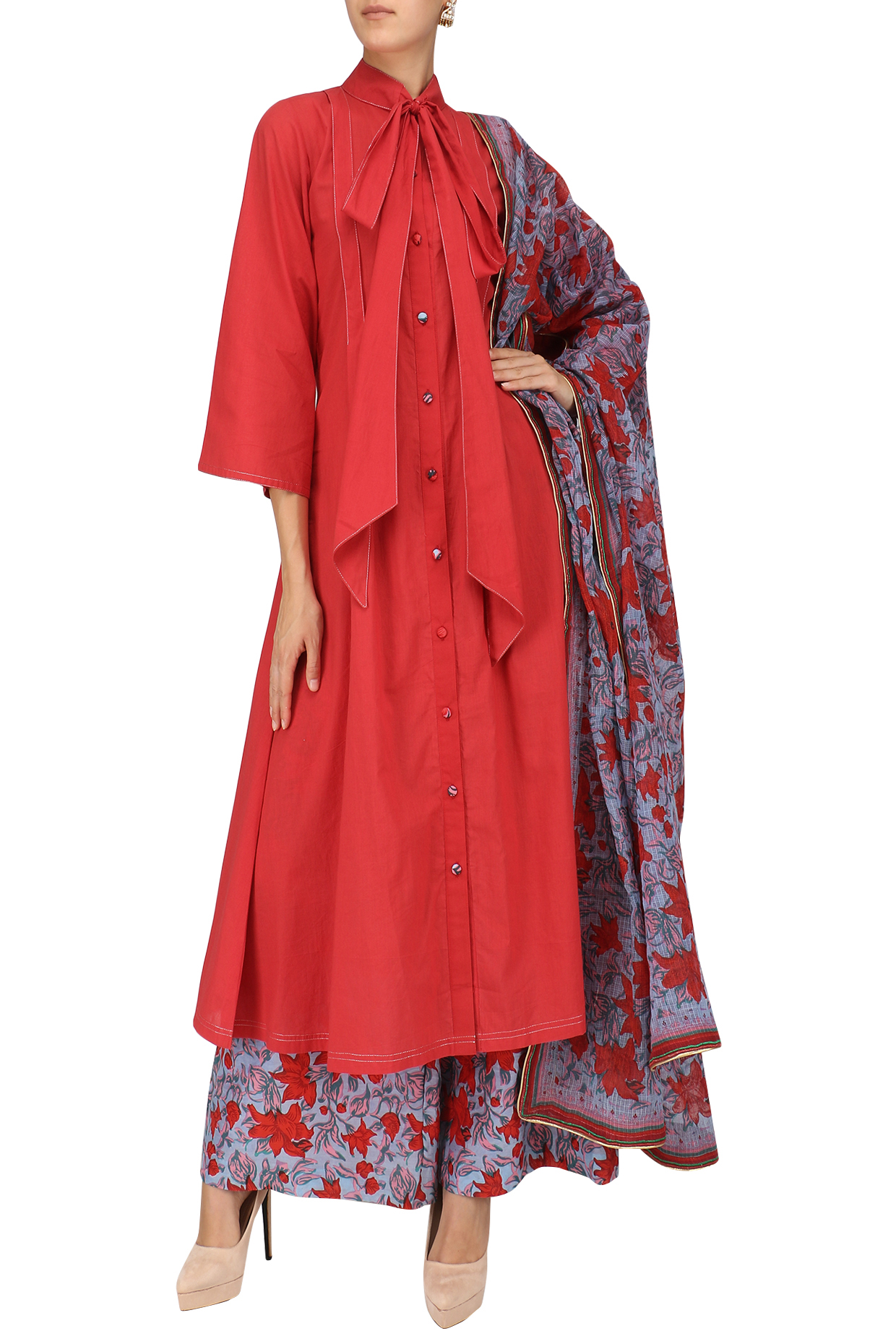 Red and Blue Floral Print Embroidered Flared Kurta Set